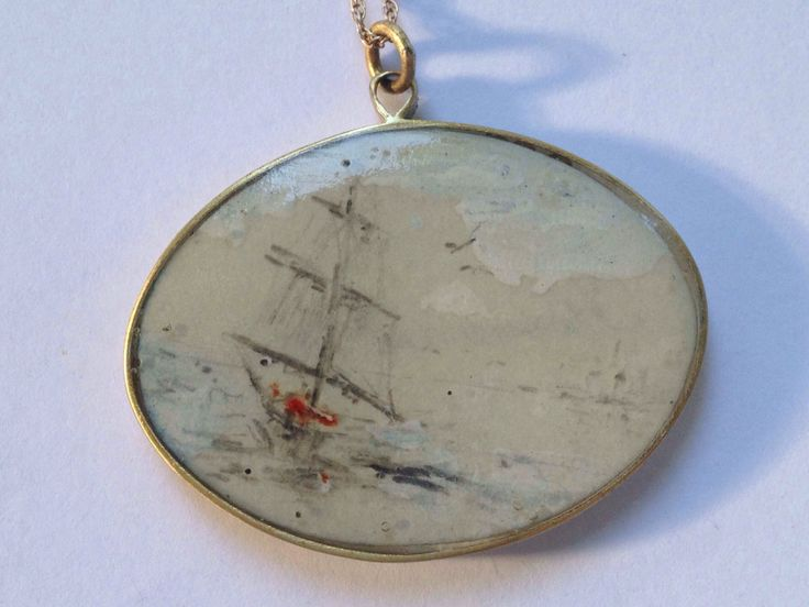 Yellow copper and sterling silver pendant Hand painted