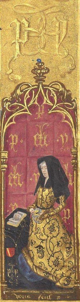 """Portrait d'Isabelle de Lalaing, épouse de Pierre de Hénin-Liétard, accompagné de sa devise """"Vous seul"""" (f°54r) -- Livre d'heures, en latin et en français, à l'usage de Cambray («Livre d'heures d'Isabelle de Lalaing»), vers 1478 [BNF, Arsenal Ms 1185 réserve - ark:/12148/btv1b55007801k]"""
