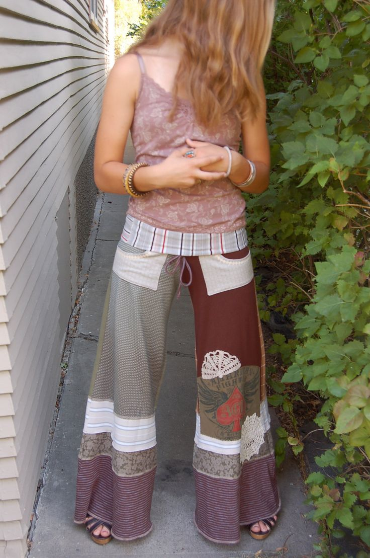 Upcycled Clothing Patterns | Eco Gaucho Pants, patchwork clothing, upcycled clothing, yoga ,boho ...