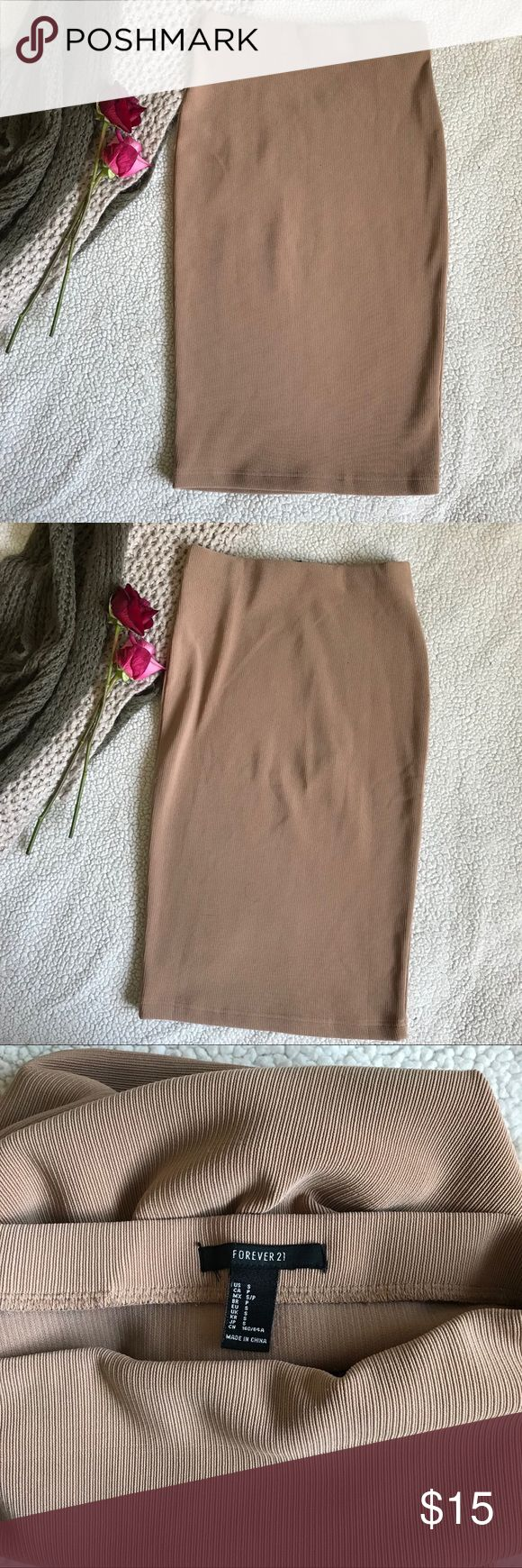 Tan Pencil Skirt Beautiful tanned pencil skirt in the size small. It is stretchy and very comfortable.  Ships within 24 HRS!! Forever 21 Skirts Pencil
