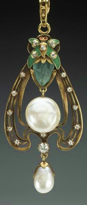 Gorham Manufacturing Company. American, 1831- Pendant, ca. 1900 Gold, pearls, frosted green glass, diamonds, enamel and rubies 8.3 x 3.2 cm (3 1/4 x 1 1/4 inches) (pendant) Helen M. Danforth Acquisition Fund 1997.80.