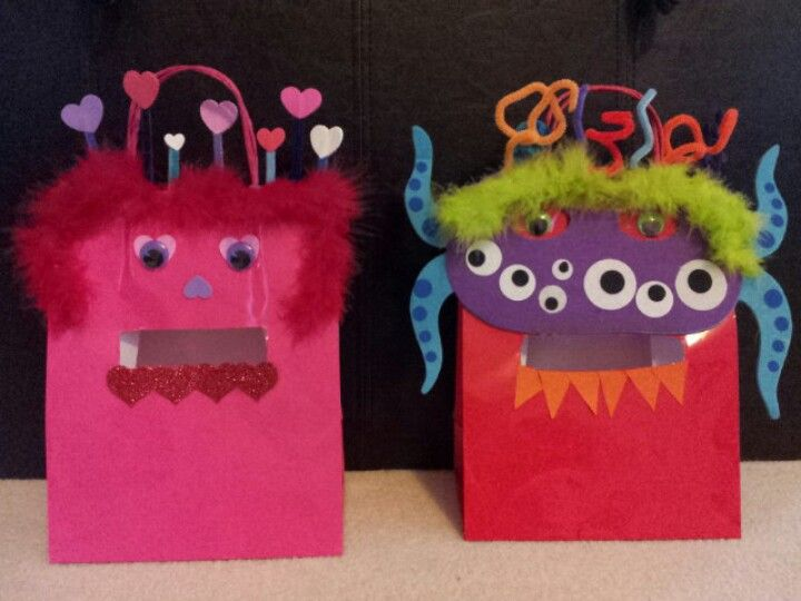 use white lunch bags valentine holders for school - Valentine Bags For School