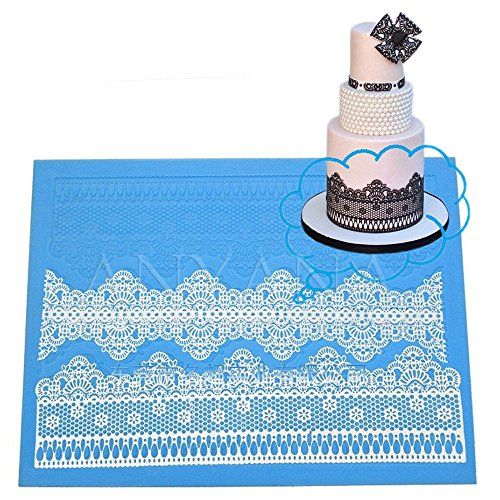 Anyana Wedding huge Fondant Silicone chocolate Mould Flower Lace Mat mold Cake Decorating Tools Stencil Cozinha Cookie border Macaron 30cm W 40cm L *** Visit the image link more details. Note:It is affiliate link to Amazon.