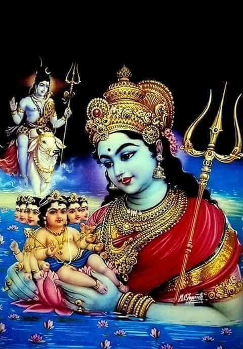 Shiva Parvati and baby Kartikeya