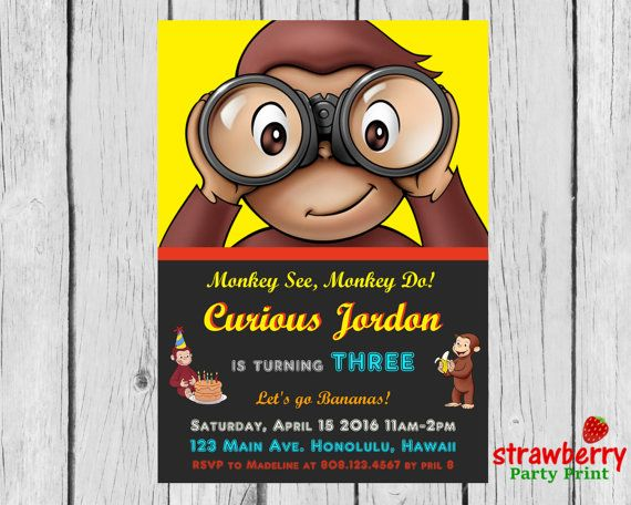 Curious George Birthday Invitation Curious by StrawberryPartyPrint
