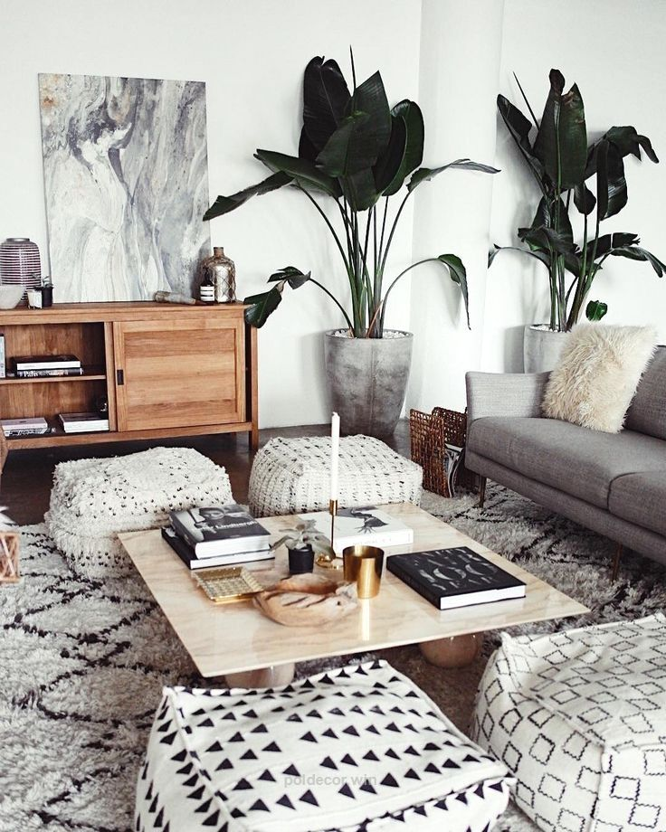 Magnificent Modern global style perfect for a living room with a neutral palette and four square poufs – Global Decor & Bohemian Home Ideas The post Modern global style perfect for a living room ..