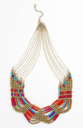 Necklace boho tribal colors