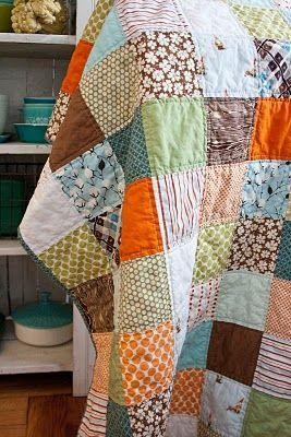 simple patchwork quilt-I really want to try to quilt...we'll see if I can do it!
