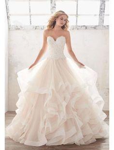 Prinzessin Luxuriöse Außergewöhnliche Brautkleider aus Organza mit Schleppe