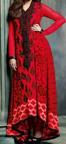 Red Colors Tail Gown Frock Design