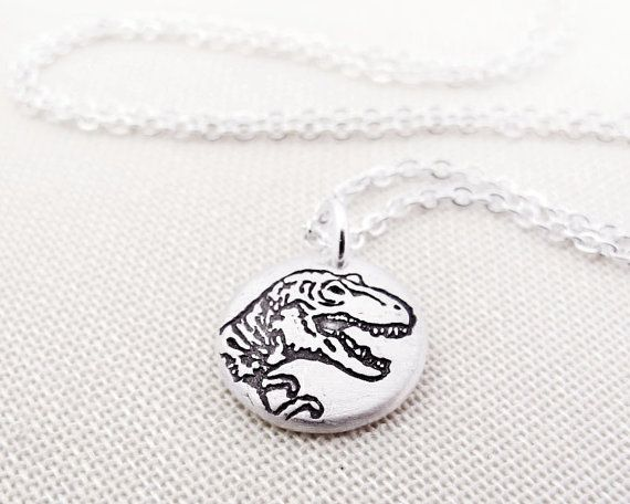 Tiny T Rex Necklace Silver Dinosaur By Lulubugjewelry On Etsy 2800