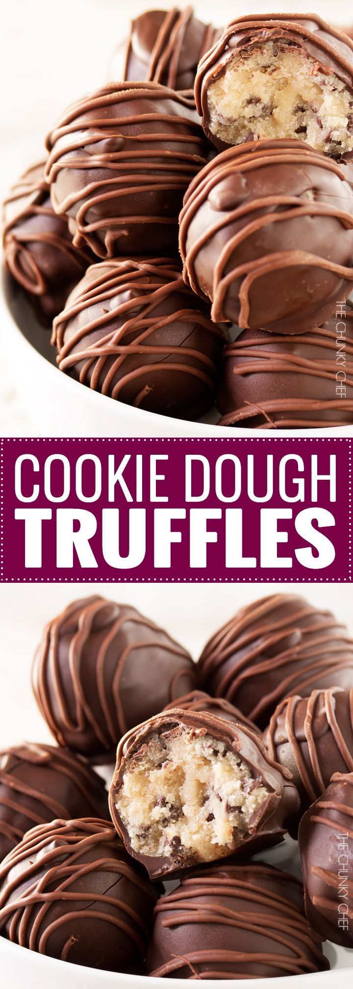 Triple Chocolate Cookie Dough Truffles | These cookie dough truffles are made from an egg-less cookie dough with semi sweet chocolate chips, then coated in two different kinds of chocolate! | http://thechunkychef.com