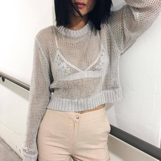 Sweater: tumblr grey cropped see through underwear bralette lace bralette white bralette pants nude