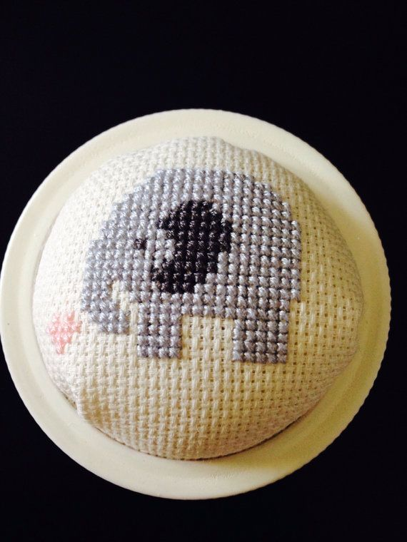 Cross stitched pincushion jar lids fox or elephant by RubySewOh