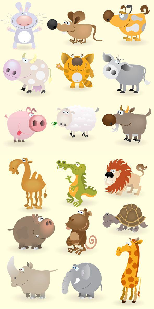 Dibujos de animales vectorizados con estilo cartoon | Puerto Pixel | Recursos de Diseño