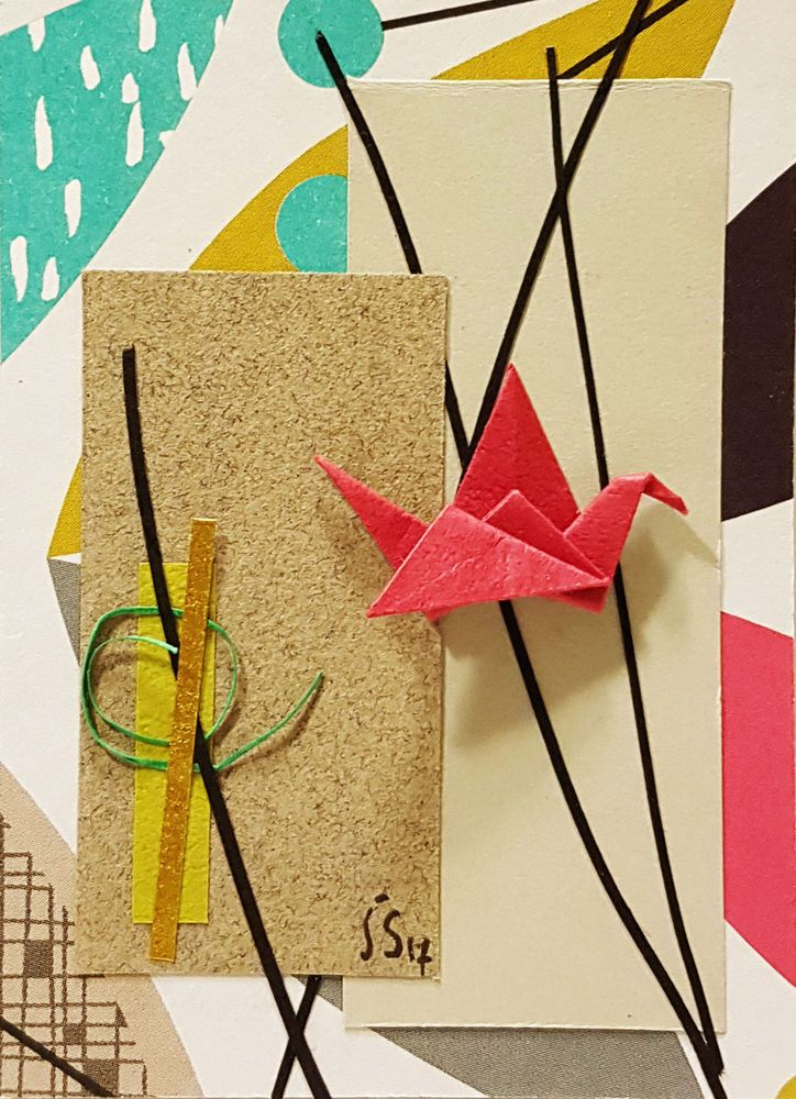 Original ACEO Origami Pink Crane and Paper Collage-Small Bird Wall Art #Miniature