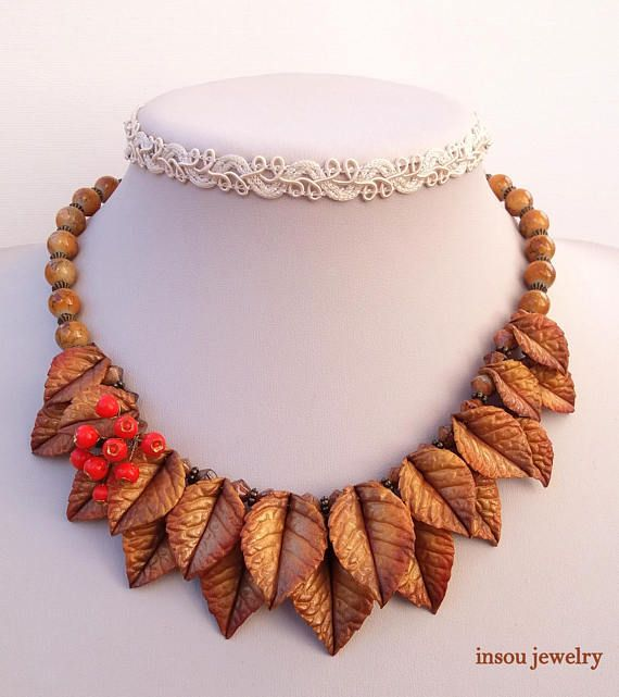 Fall Gold Fall Leaves Leaf Necklace Autumn Jewelry Statement