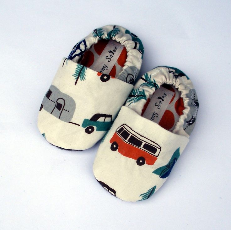 Baby Shoes - Happy Camping Organic Handmade Baby Soft Soles Boy or Girl- Size 3 - 6 months with VW bus, trees, tents slippers- Baby Clothes. $28.00, via Etsy.