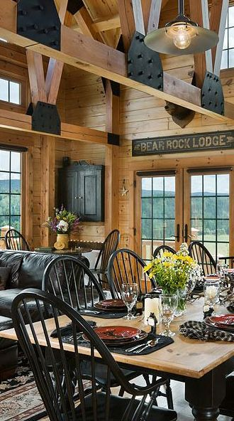 Log home with black as an accent color #log #homes
