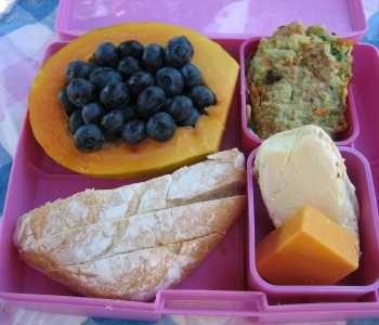 Menu        Fresh Papaya stuffed with Mountain Blueberries      Francese Bread      Zucchini Patties      Brie Cheese      Cheddar Cheese