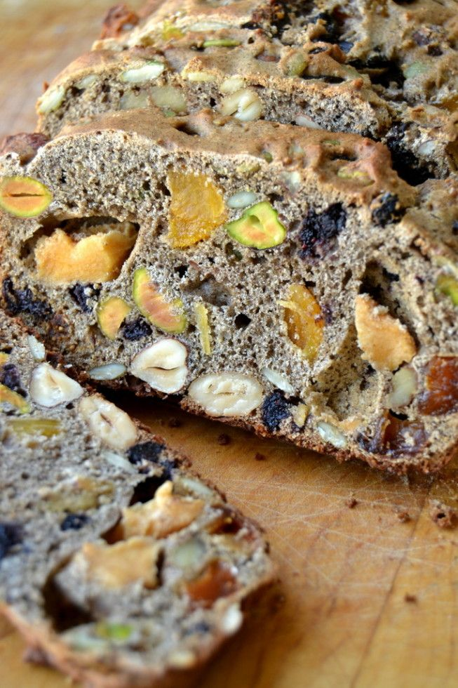 Eat this gorgeous bread toasted, with lots of butter.  It's crammed full of nuts and fruit, so every bite will be unique!