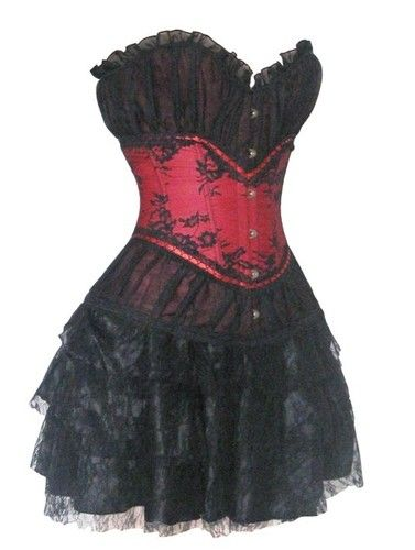 Palace Burlesque Showgirl Black Red Satin Lace Corset Dress Moulin Rouge Skirt | eBay