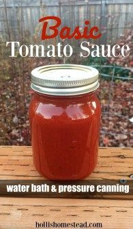 Basic Tomato Sauce for canning. Water bath and pressure canning. Use this basic recipe for pizza sauce, pasta sauce or any recipe you need tomato sauce for.