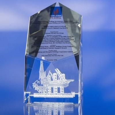 CLEAR TRANSPARENT GLASS AWARDs TROPHY