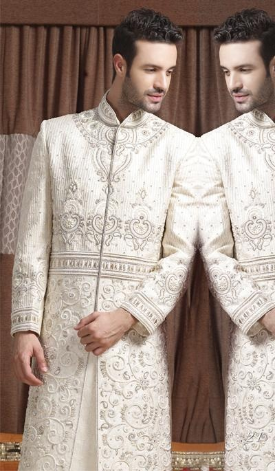 G3 fashions White Embroidered Brocade Sherwani.  Product Code : G3-MSH10000140 Price : INR RS 46530