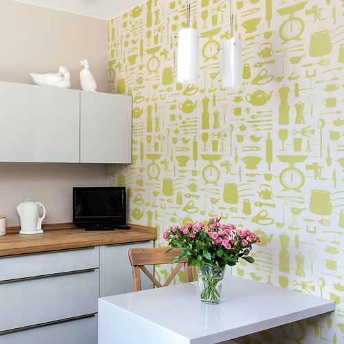 'Airfix Kitchen' wallpaper designed by Victoria Eggs for Graduate Collection