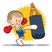 Chute de boxe Muay Thai saco de areia —  Vetores de Stock