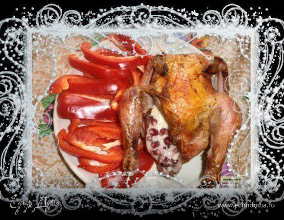 Цыпленок, фаршированный гранатом и сыром. Ингредиенты: цыплята, гранаты, сыр твердый