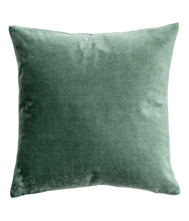 Moss green. Cushion cover in cotton velvet with concealed zip.