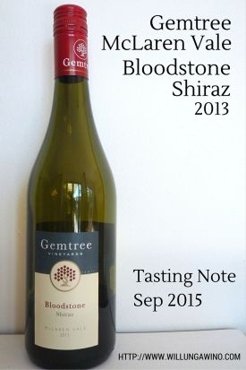 Gemtree McLaren Vale Bloodstone Shiraz 2013 wine tasting review note