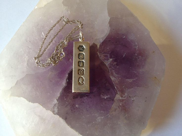 Sterling Silver Ingot Pendant with Chain, Silver Jubilee Ingot, Vintage Silver Pendant and Chain, Hallmarked Silver Ingot, Pendant and Chain by CreationsOfOlde on Etsy https://www.etsy.com/uk/listing/473747931/sterling-silver-ingot-pendant-with-chain
