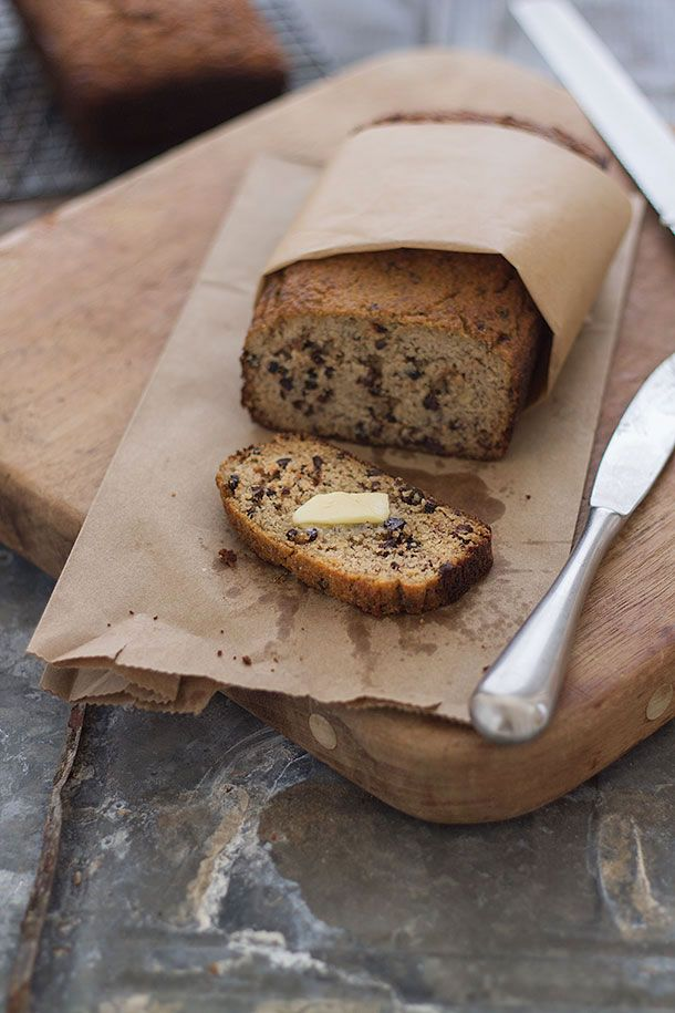 Paleo Banana Bread by Slim Palate (replaced the almond flour with flaxmeal and the cacao nibs with chopped medjool dates)