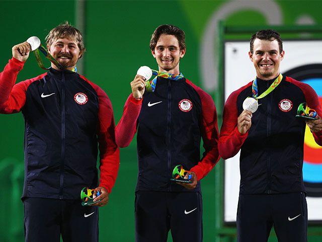 brady ellison zach garrett and jake kaminski of the united states ...  @USAArchery Men's Team #Silver. #TeamUSA?