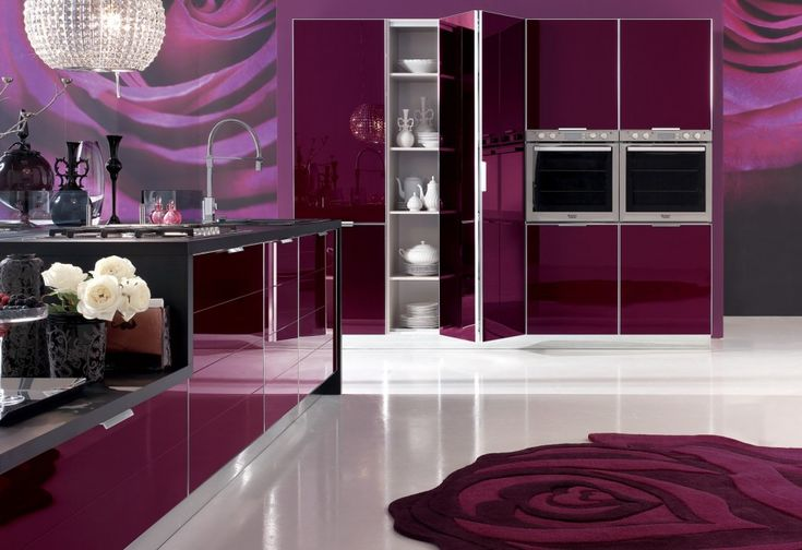 Kitchen Contemporary Kitchen Cabinets Design Glossy Cabinet Concrete Countertop Double Built In Oven Purple Colour Scheme Crystal Pendant Lamp Rose Rug Stainless Steel Faucet Storage Ideas Gas Cooktop 18 Contemporary Kitchen Design