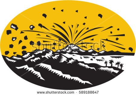Illustration of a volcano erupting volcanic eruption resulting to island formation set inside oval shape done in woodcut style.  #volcano #woodcut #illustration