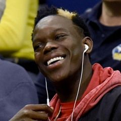 Dennis Schroder watches from the stand at the BBL match of FC Bayern vs ALBA Berlin