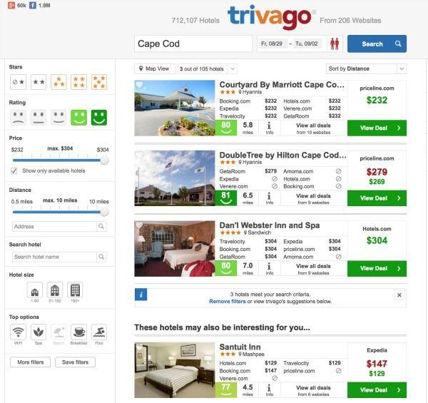 Trivago- hotel, flights