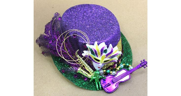 Mardi Gras Glittered Hat