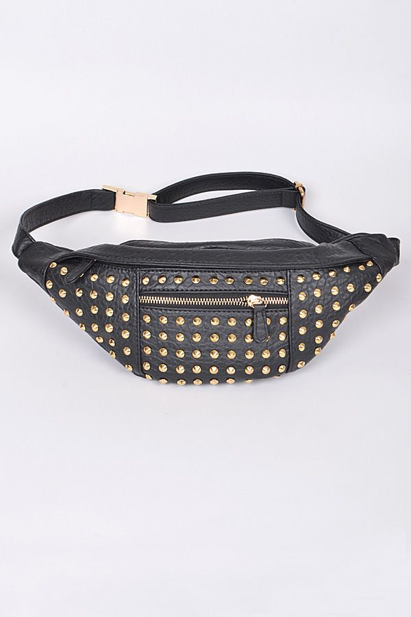 9ecb396475a PPC2500. Black Gold Studded Fanny Pack Waist Bag - Handbags | Kim's ...