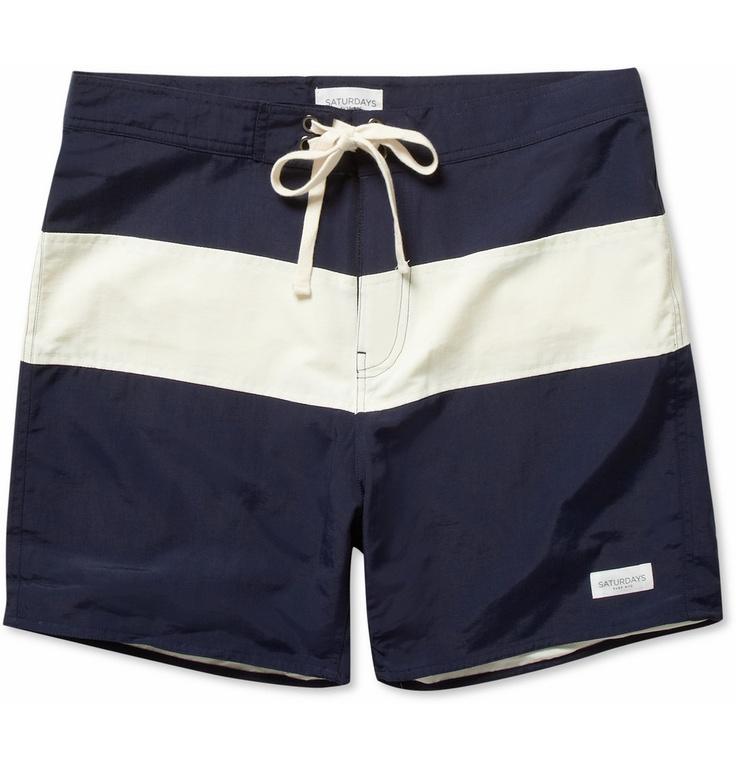 Saturdays Surf NYCGrant Mid-Length Striped Swim Shorts MR PORTER
