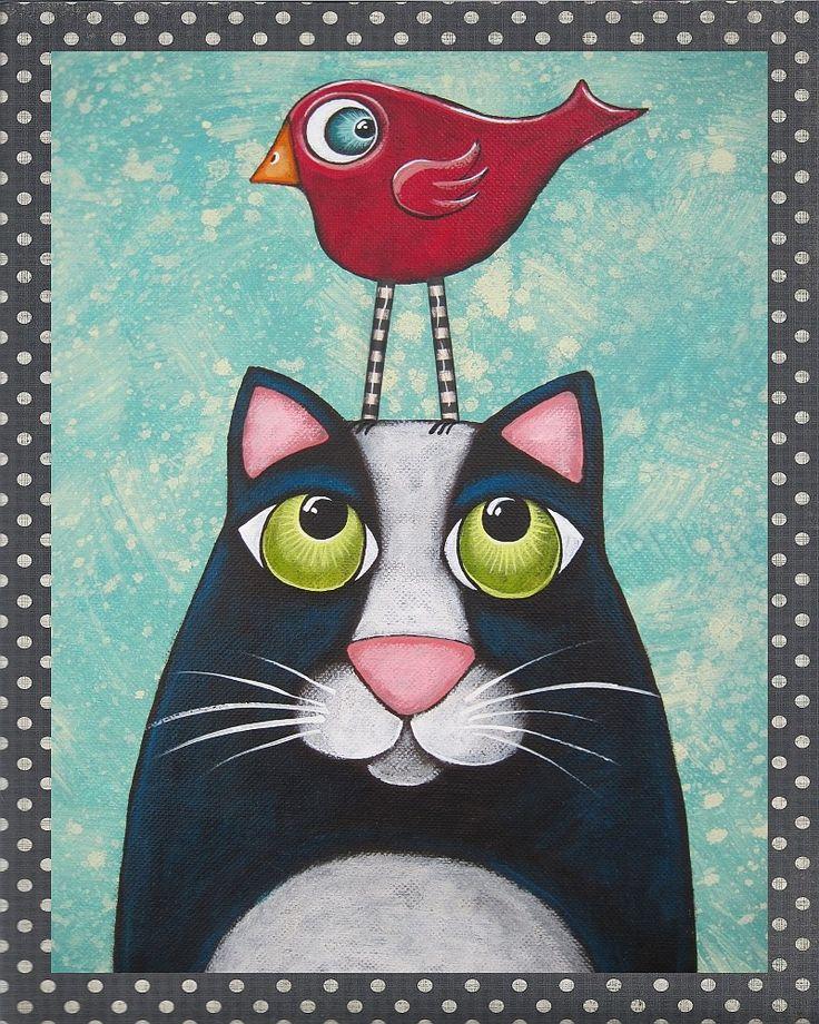 Folk Art Prints   Folk Art Cat Bird PRINT of original painting by by HipHeartStudio2