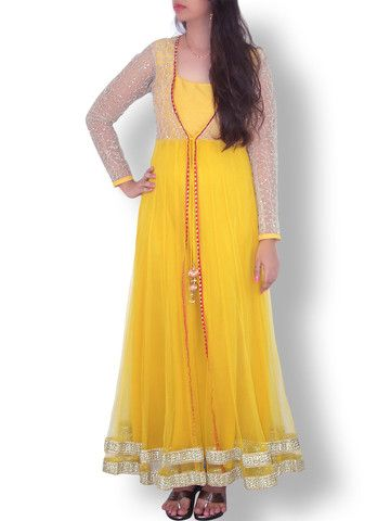 Yellow Jacket Styled Floor Length Net Anarkali | Sweta Sutariya