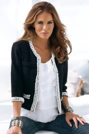 Boston Proper Pearl-embellished jacket with denim -this jacket could be worn with so many things, I love it!
