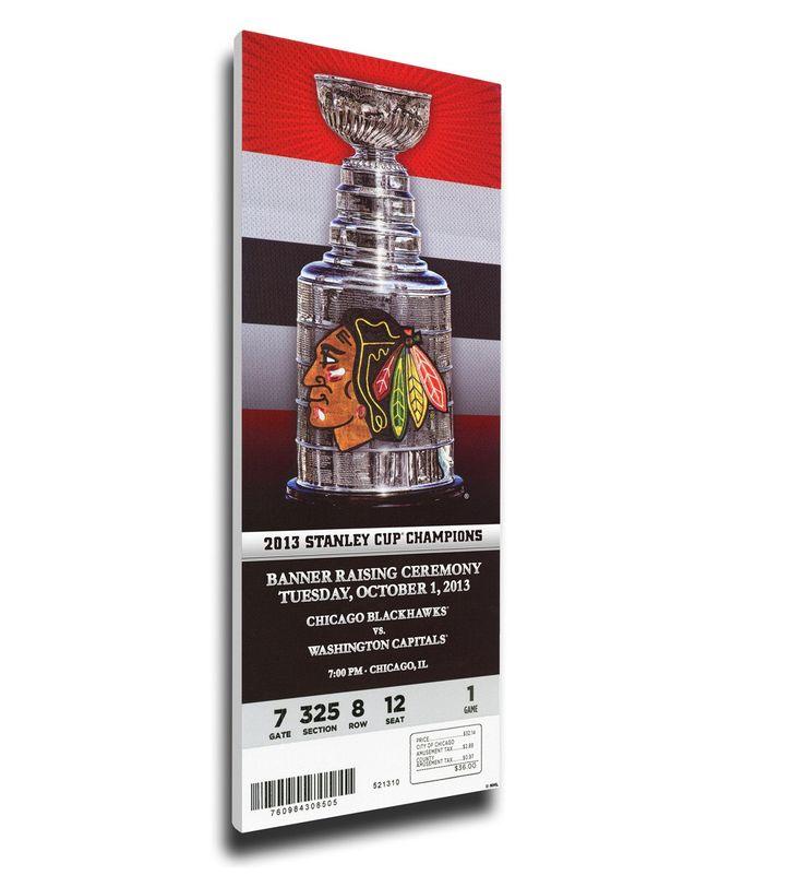 Chicago Blackhawks Wall Art - 2013 Stanley Cup Champions Banner Raising Canvas Mega Ticket