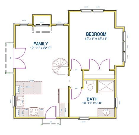 287 best images about small space floor plans on pinterest for 1 bedroom cottage house plans