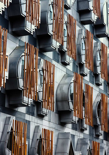 Contemporary Edinburgh Architecture at Scottish Parliament Building by Catalan architect Enric Miralles